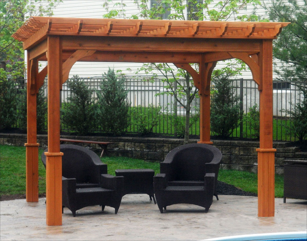 10' X 10' Cedar Deluxe 4 Beam Pergola shown with 2 Coats of Cedar  Stain/Sealer and 8