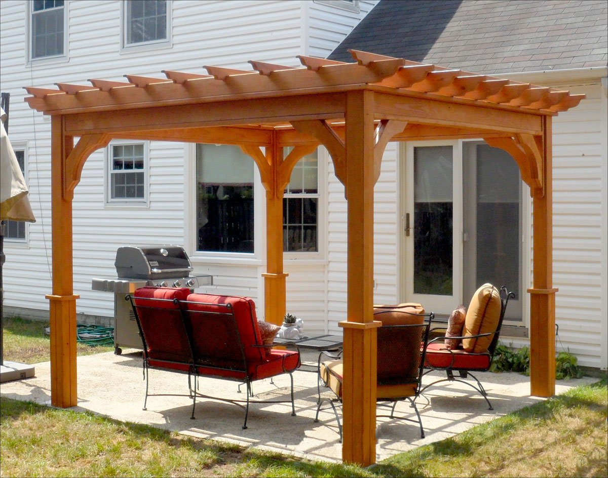 10 X 10 Treated Pine Deluxe 4-Beam Pergola shown with cedar stain/sealer - Customer's Photo - 10' X 10' Treated Pine Deluxe 4-Beam Pergola