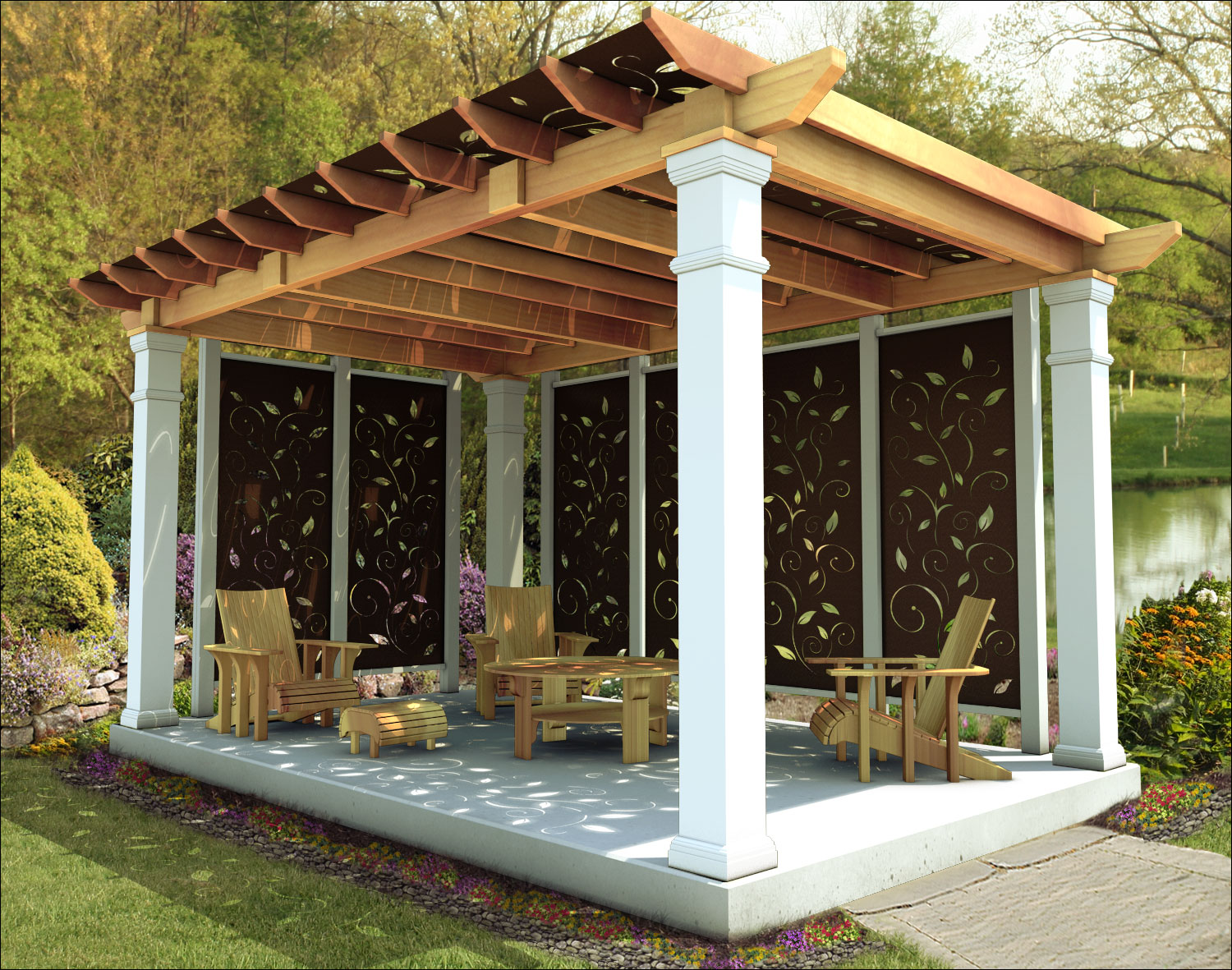 customer 39 s photo 10 39 x 16 39 red cedar oasis pergola with. Black Bedroom Furniture Sets. Home Design Ideas