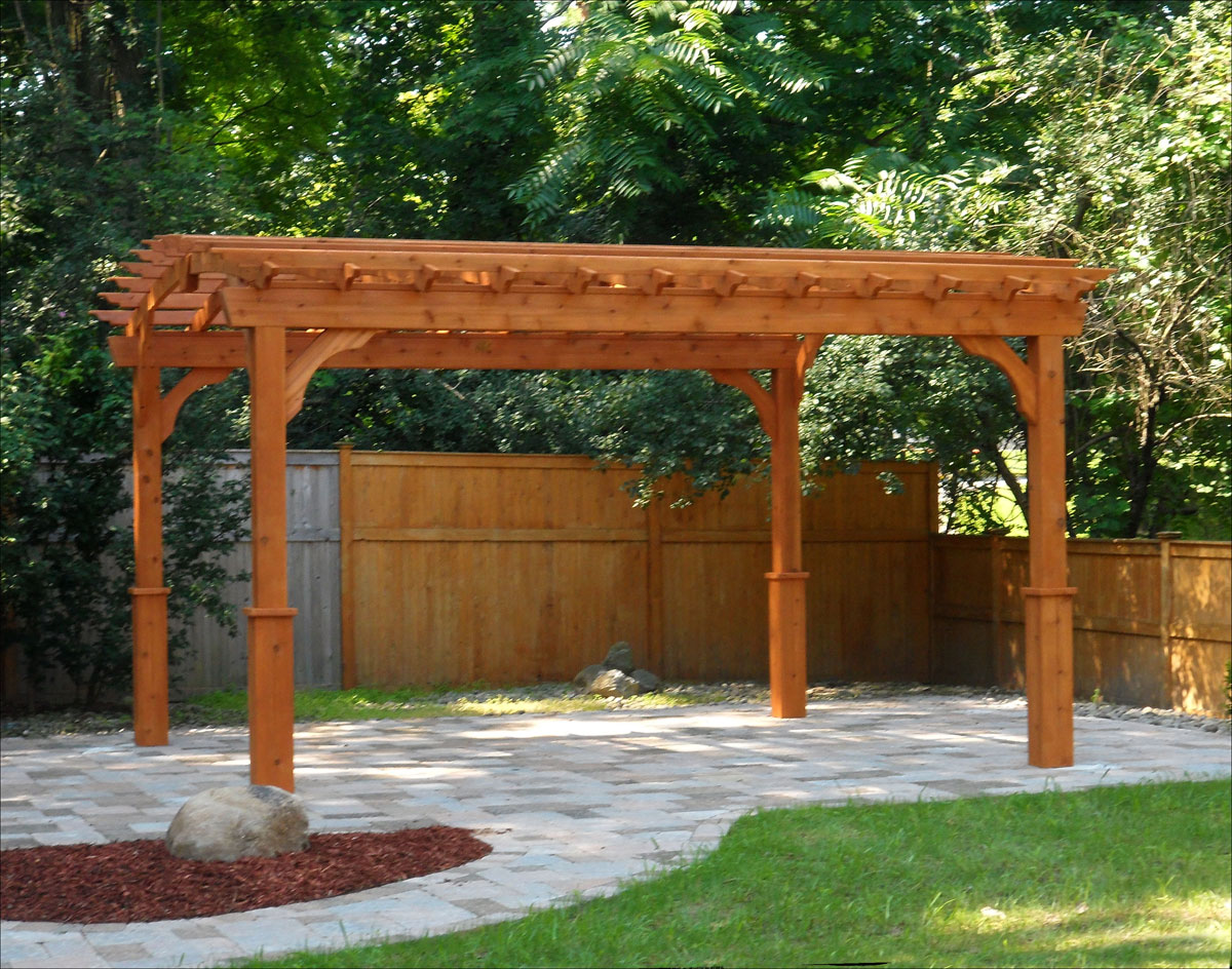 customer 39 s photo 12 39 x 14 39 red cedar arched pergola. Black Bedroom Furniture Sets. Home Design Ideas