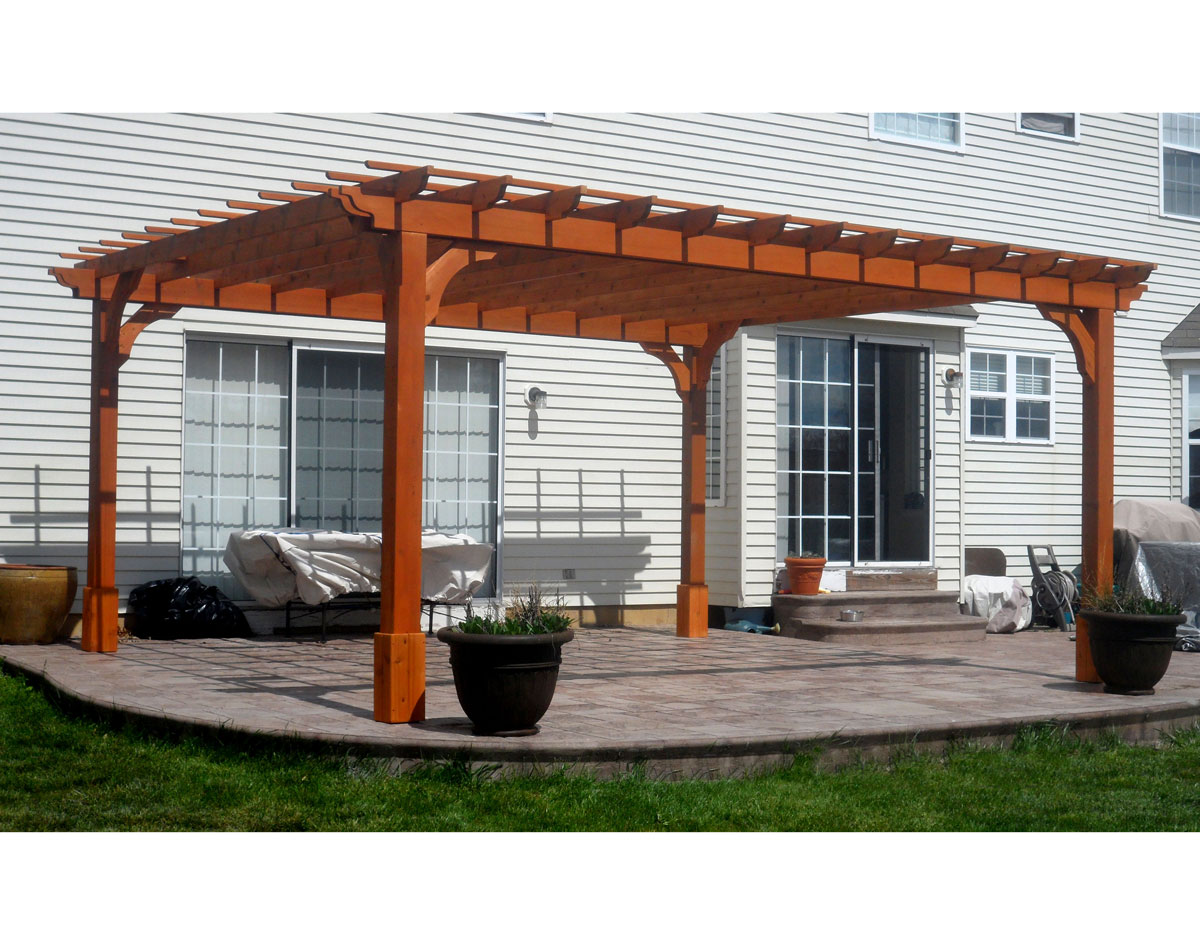 Customer 39 s photo 14 39 x 16 39 cedar 2 beam pergola 16x16 deck material list