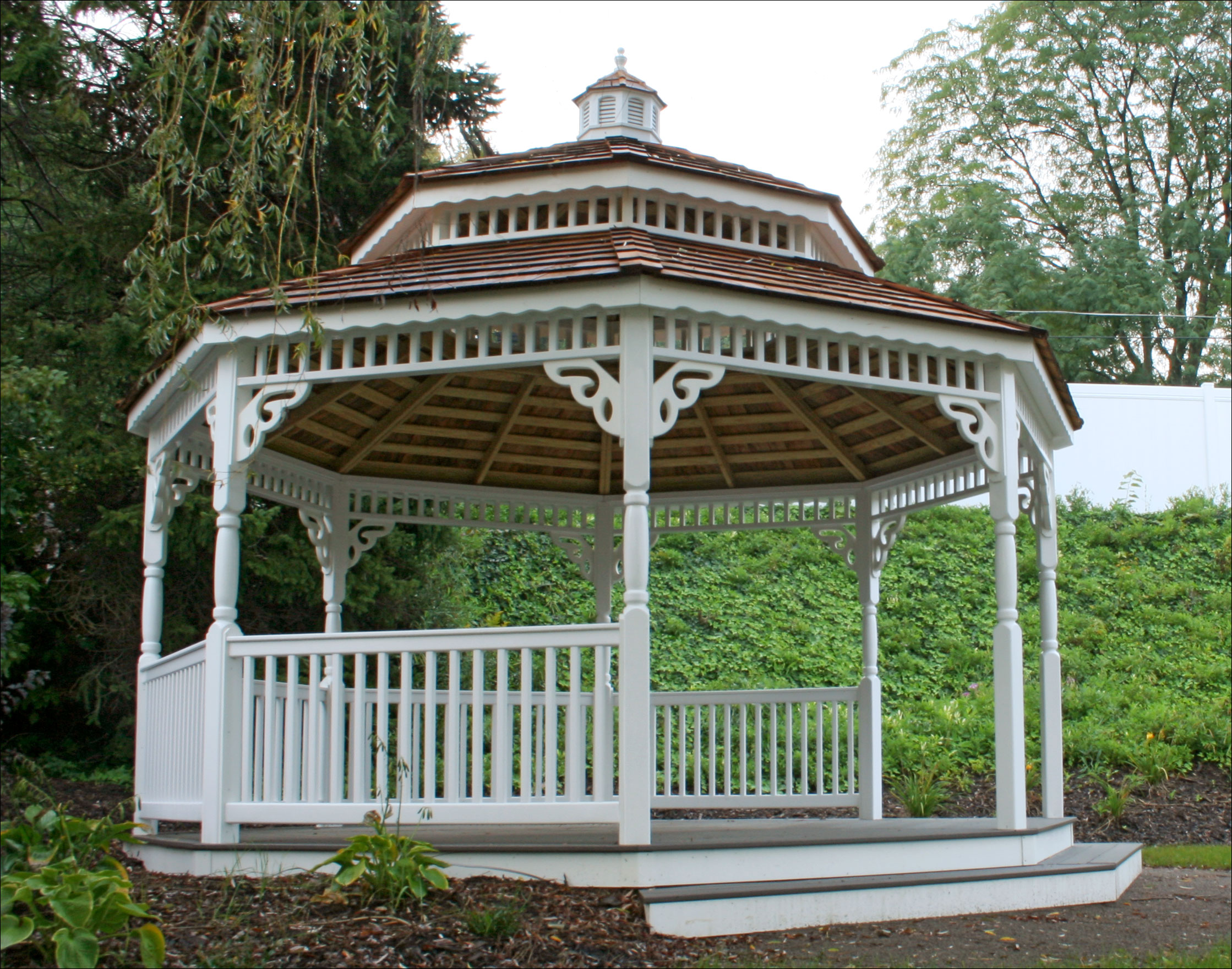 customer 39 s photo 16 39 white vinyl double roof octagon gazebo. Black Bedroom Furniture Sets. Home Design Ideas