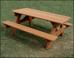 Red Cedar Heavy Duty Picnic Table W/Attached Benches