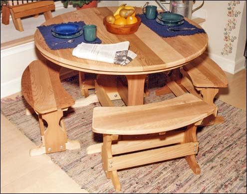Picnic tables red cedar round trestle picnic table set watchthetrailerfo