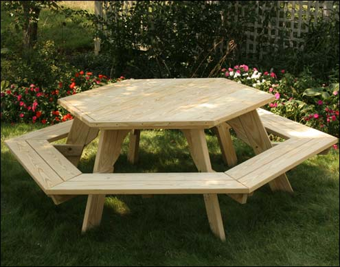 Picnic Tables - Teak picnic table with detached benches