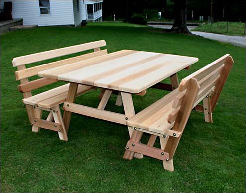 42 Wide Red Cedar Traditional Picnic Table W Backed Benches