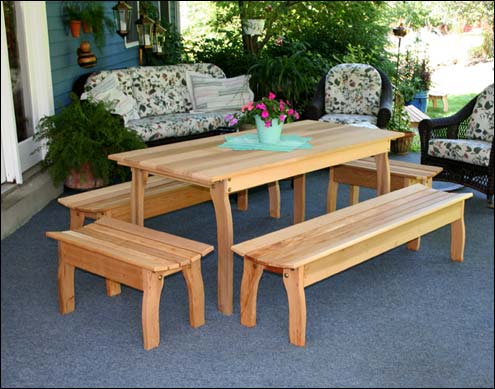 Red Cedar Contoured Picnic Table w/(4) Benches - Cedar Outdoor Furniture Cedar Patio Furniture Sets Cedar Garden